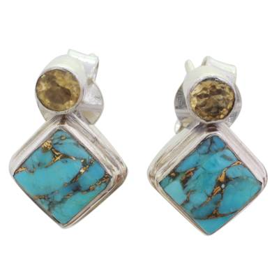 Indian Citrine Earrings with Composite Blue Turquoise