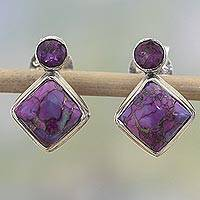 Amethyst drop earrings, 'Purple Sparkle' - Indian Amethyst Earrings with Composite Purple Turquoise