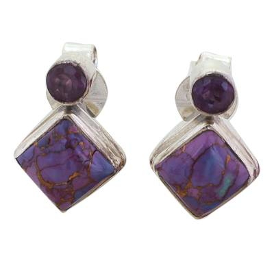 Novica Indian Purple Amethyst Turquoise Earrings
