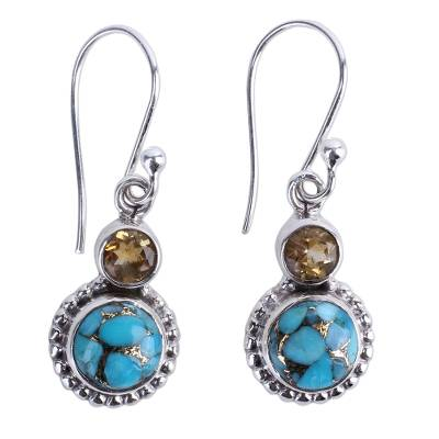 Citrine and Composite Turquoise Sterling Silver Earrings