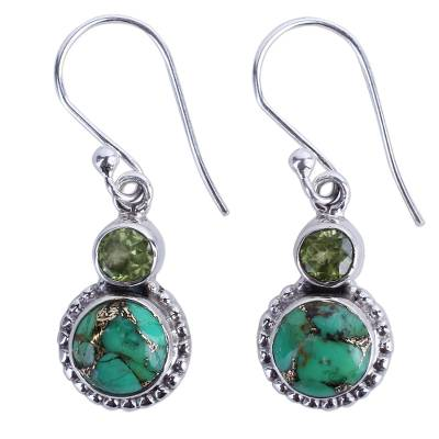 Peridot, Composite Turquoise, and Sterling Silver Earring