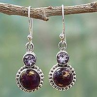 Amethyst dangle earrings, 'Purple Glamour' - Amethyst and Composite Turquoise Sterling Silver Earrings