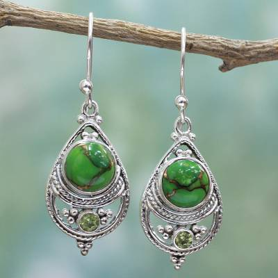 Peridot dangle earrings, 'Green Elegance' - Sterling Silver, Peridot, and Composite Turquoise Earrings