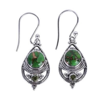 Sterling Silver Peridot and Turquoise Jewelry Earring
