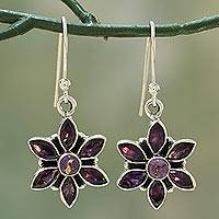 Amethyst dangle earrings, 'Dew-Kissed Violets' - Amethyst Flower Shaped Sterling Silver Dangle Earrings