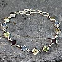 Multi-gemstone link bracelet, 'Delicate Gaze' - Handcrafted Multigemstone and Sterling Silver Link Bracelet