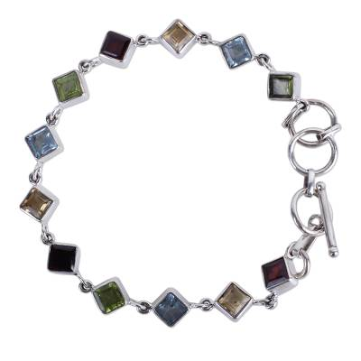 Handcrafted Multigemstone and Sterling Silver Link Bracelet