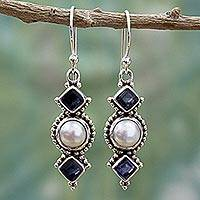Cultured pearl and iolite dangle earrings, 'Lunar Allure' - Iolite and Cultured Pearl Sterling Silver Dangle Earrings