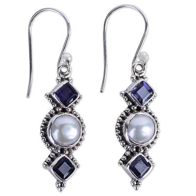 Iolite and Cultured Pearl Sterling Silver Dangle Earrings