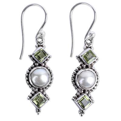 Peridot and Cultured Pearl Dangle Sterling Silver Earrings