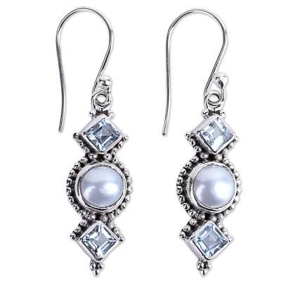 Blue Topaz and Cultured Pearl Sterling Silver Dangle Earring