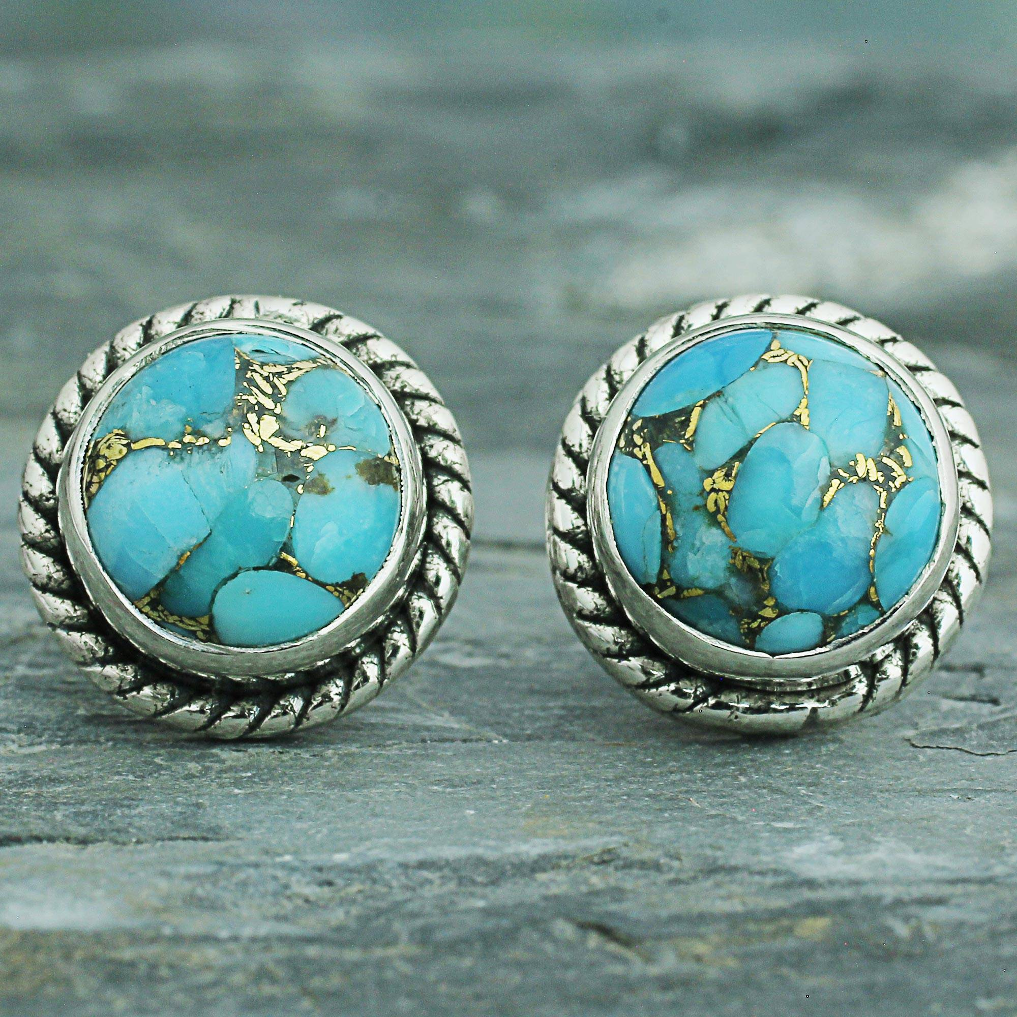 metallic in silver lyst silvertone jewelry product round normal stud fossil turquoise earrings tone gallery