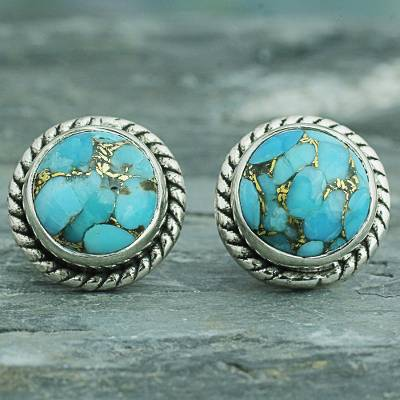 Sterling Silver Stud Earrings Cool Aqua Radiance Composite Turquoise