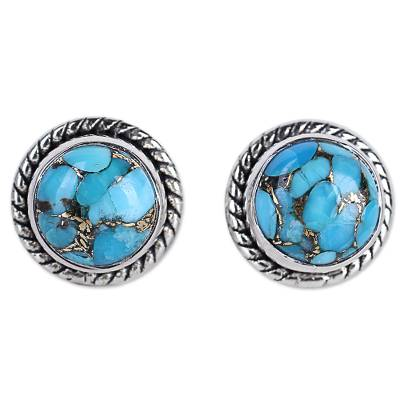 Fair Trade Sterling Silver and Turquoise Stud Earrings