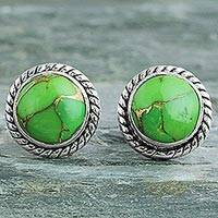 Sterling silver stud earrings, 'Verdant Radiance' - Silver 925 and Green Composite Turquoise Stud Earrings