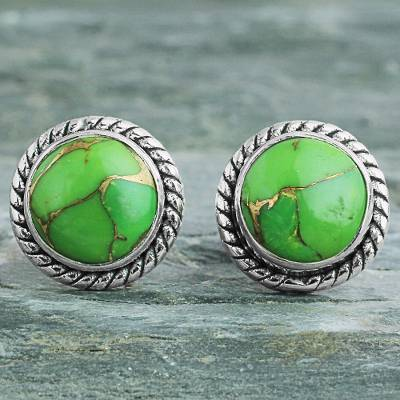 Sterling silver stud earrings, Verdant Radiance