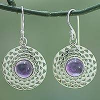Amethyst dangle earrings, 'Violet Jali Disc' - Sterling Silver Amethyst Dangle Earrings from India