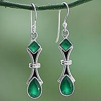 Green onyx earrings, 'Magical Moss' - 2.5 Carat Green Onyx and Sterling Silver Earrings from India