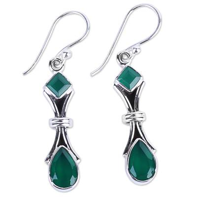 2.5 Carat Green Onyx and Sterling Silver Earrings from India