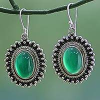 Onyx dangle earrings, 'Forest Elegance' - Sterling Silver Dyed Onyx Dangle Earrings from India