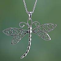 Sterling silver pendant necklace, 'Dazzling Dragonfly' - Sterling Silver Dragonfly Pendant Necklace from India