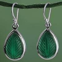 Onyx dangle earrings, 'Green Allure' - Hand Made Sterling Silver Onyx Dangle Earrings from India