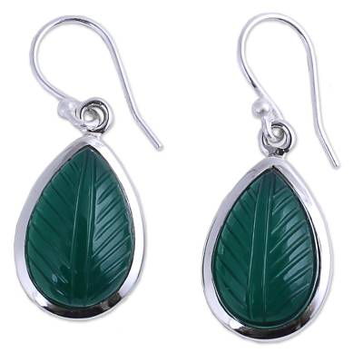 Hand Made Sterling Silver Onyx Dangle Earrings from India