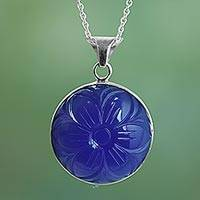 Blue onyx pendant necklace, 'Floral Grandeur' - Blue Onyx and Sterling Silver Necklace from India