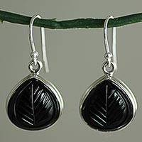 Onyx dangle earrings, 'Betel Leaf' - Hand Made Sterling Silver Onyx Dangle Earrings from India