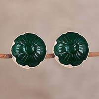 Gold plated onyx button earrings, 'Garden Green' - Gold Plated Green Onyx Floral Button Post Earrings