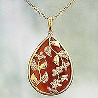 Gold plated onyx pendant necklace, 'Royal Prestige' - Gold Plated Silver Red Onyx Pendant Necklace India