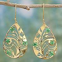 Gold plated emerald dangle earrings, 'Life Tree in Green' - Gold Plated Silver Emerald Dangle Earrings from India