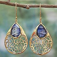 Gold plated labradorite dangle earrings, 'Golden Jali Vines' - Gold Plated Silver Labradorite Dangle Earrings India