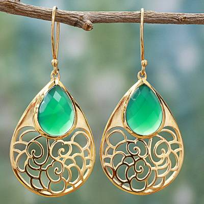 Gold plated onyx dangle earrings, 'Golden Vines in Green' - Gold Plated Silver Green Onyx Dangle Earrings India