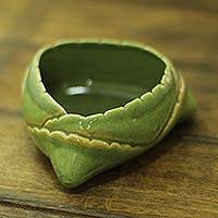 Ceramic bowl, 'Daab Bati' (3.7 inch) - Coconut Styled Snack Bowl Crafted in Glazed Ceramic in India