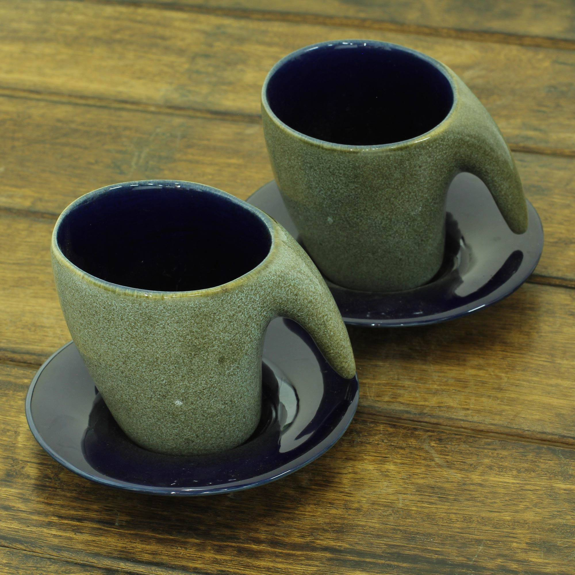 Modern Style Pair Of Ceramic Cups And Saucers From India Exotic Modern Novica