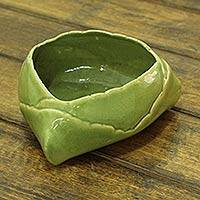 Ceramic bowl, 'Daab Bati' (4.7 inch) - Indian Coconut Styled Snack Bowl Crafted in Glazed Ceramic