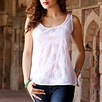 Sleeveless cotton blouse, 'Morning in Mumbai' - Sleeveless White 100% Cotton Hand Embroidered Blouse