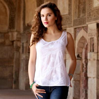 1713b2bb7b3003 Sleeveless White 100% Cotton Hand Embroidered Blouse - Morning in ...