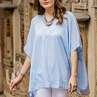 Cotton tunic, 'Lucknow Flowers in Pastel Blue' - Indian Chikankari Hand Embroidered Pastel Blue Tunic Top