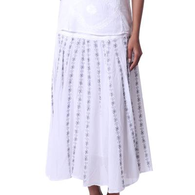 White 100% Cotton Skirt with Embroidered Grey Floral Pattern