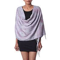 Viscose shawl, 'Thistle Grandeur' - Pale Purple and Blue Jamawar Inspired Indian Jacquard Shawl