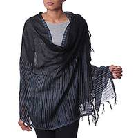 Wool shawl, 'Magic Midnight' - Deep Black, Blue, and Grey 100% Wool Woven Shawl from India