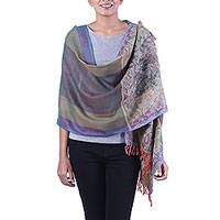 Wool shawl, 'Floral Blast' - Multicolored Jacquard Wool Shawl with Fringe from India