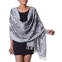 Wool and silk blend shawl, 'Floral Grandeur' - Woven Floral Wool and Silk Blend Shawl from India