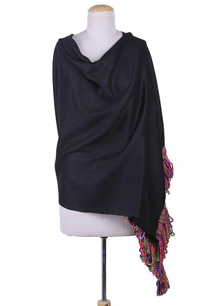 Wool shawl, 'Black Glamour' - Black Wool Shawl Colorful Braided Fringes from India