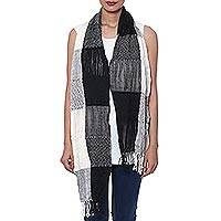 Wool blend scarf, 'Naturally Sophisticated' - Wool and Viscose Blend Scarf in Black and Natural from India