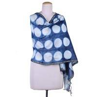 Cotton and silk blend shawl, 'Blue Delhi Moon' - India Artisan Crafted Blue Cotton Blend Shibori-Dyed Shawl