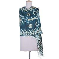 Hand painted silk shawl, 'Basar in Teal' - 100% Silk Teal Shawl with Geometric Design from India