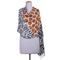 Hand painted silk shawl, 'Safari in Brown and Black' - Wild Life Animal Motif on Hand woven 100% Silk Shawl Wrap